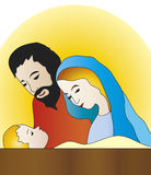 Nativity. Illustration of nativity with jesus, mary and joseph Stock Photography