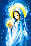 Nativity. Scene:Mary with the young Jesus Christ in her arms.Picture I have created with watercolors Royalty Free Stock Photography
