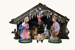 Christmas Nativity. Nativity Scene, a beautiful vintage handmade Holy Crib royalty free stock photo