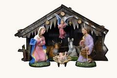 Christmas Nativity. Nativity Scene, a  beautiful vintage handmade Holy Crib Royalty Free Stock Photo