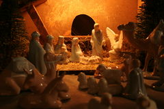 Nativity. Creche -hand painted by photog Stock Photos