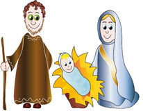 Nativity. Illustration of the birth of Jesus with Joseph and Mary Royalty Free Stock Image
