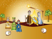 Nativity. Scene with Jesus, Mary, Joseph and the three magi king Stock Photo