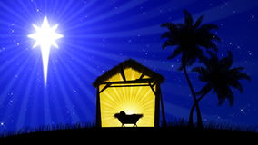 Nativity 01 (Animated Background). HD animation with the star of Bethlehem guiding the way to the stable stock video