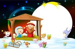 Nativity in Bethlehem with animals - Christmas vector oval frame. Illustration vector illustration