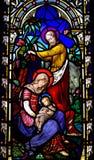 Nativity: birth of Jesus. Birth of Jesus with Mary and Joseph stock photography