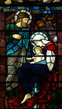 Nativity: birth of Jesus. A stained glass photo of the Nativity Stock Photo