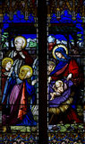 Nativity ( the birth of Jesus) in stained glass Royalty Free Stock Images