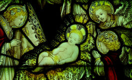 Nativity: birth of Jesus in stained glass Royalty Free Stock Image