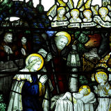 The Nativity; birth of Jesus in stained glass Stock Images