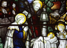 The Nativity; birth of Jesus in stained glass. A photo of The Nativity; birth of Jesus in stained glass Royalty Free Stock Images