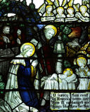 The Nativity; birth of Jesus in stained glass Royalty Free Stock Images