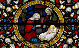 Nativity: the Birth of jesus in stained glass. A photo of the Nativity, birth of Jesus in stained glass royalty free stock photo