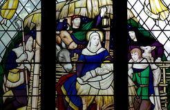 The Nativity (birth of Jesus) in stained glass Royalty Free Stock Image