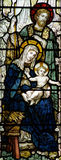 The Nativity (birth of Jesus in stained glass). A photo of The Nativity (birth of Jesus in stained glass Stock Photos