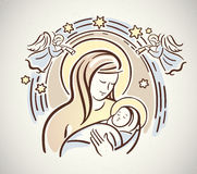 Nativity. Blessed Virgin with the infant Jesus in her arms. Nativity, Christmas Royalty Free Stock Images