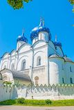 Nativity Cathedral of Suzdal Kremlin. The medieval white Cathedral of Nativity with blue domes, covered with golden stars, Suzdal Kremlin, Russia Royalty Free Stock Images
