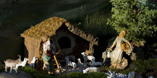 Nativity characters crib Stock Image