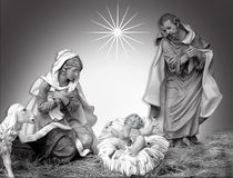 Nativity Christmas black and white. Image and illustration composition Christmas Nativity scene of the holy family for religious greeting card or background in Royalty Free Stock Images