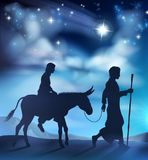 Nativity Christmas Illustration Mary and Joseph Stock Images