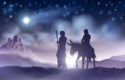 Nativity Christmas Illustration Mary and Joseph. A nativity Christmas scene illustration of the Mary and Joseph a donkey on their journey, the star of Bethlehem Stock Image