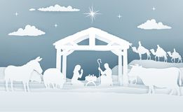Nativity Christmas Scene Paper Art Style vector illustration