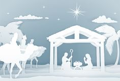 Nativity Christmas Scene Papercraft Style Stock Image