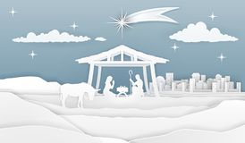 Nativity Christmas Paper Scene stock illustration