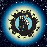 Nativity. Christmas in starry background Royalty Free Stock Photography
