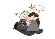 Nativity - Christmas Story - Birth of Jesus. Cute cartoon illustration of nativity scene / christmas story: Birth of Jesus Christ, happy holy family Stock Image