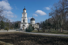 Nativity Church - Chisinau, Moldova. View of the Nativity Church across the park in Chisinau, Moldova Royalty Free Stock Image
