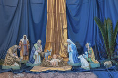Nativity Crib. Figures of Baby Jesus. Virgin Mary and St. Joseph Stock Images