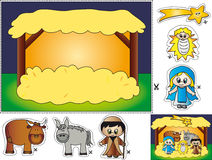 Nativity cut and paste. Nativity illustration for children to cut and paste Royalty Free Stock Image
