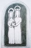 Nativity drawing Stock Images