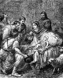 The Nativity. An engraved vintage illustration image of the Nativity of Jesus Christ, from a Victorian book dated 1881 that is no longer in copyright Stock Photo