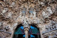 Nativity Facade of the Basilica and Expiatory Church of the Holy Family. In Barcelona stock photography