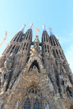 Nativity facade at church Sagrada Familia with towers in Barcelona Royalty Free Stock Images