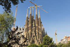 Nativity facade of La Sagrada Familia - the impressive cathedral Royalty Free Stock Images