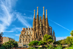 Nativity facade of Sagrada Familia cathedral in Barcelona Royalty Free Stock Images