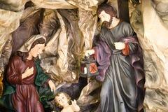 Nativity Figure Jesus, Marie And Joseph Stock Images