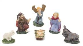Nativity figures for christmas scene. Christmas decoration with angel, mary, joseph, jesus and sheep stock photo