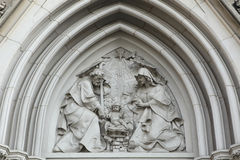 The Nativity. Gothic relief in Saint Wenceslas Cathedral in Olom Royalty Free Stock Photo