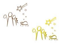Nativity Illustration Set: Christmas Night Stock Image