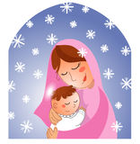 Nativity: Mary and baby Jesus. Mary with baby Jesus. A very cute digital illustration for Christmas Stock Photo