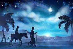 Nativity Mary and Joseph Christmas Illustration Royalty Free Stock Photography