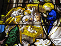 The Nativity medieval 16th century stained glass w Stock Photo