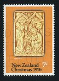 Nativity. NEW ZEALAND - CIRCA 1976: stamp printed by New Zealand, shows Christmas, Nativity, Carved Ivory, circa 1976 royalty free stock photos