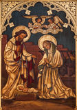 Nativity paint on the wood from Saint Antoine Royalty Free Stock Photography