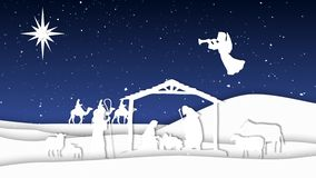 Nativity Paper Cut Outs Silhouettes 4K Loop