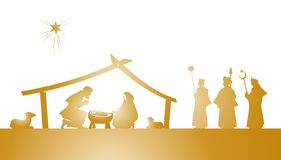 Nativity play. Illustration of the christmas nativity play as silhouette Stock Photography